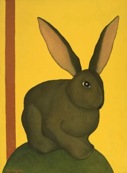 RABBIT BY A YELLOW LIQUID