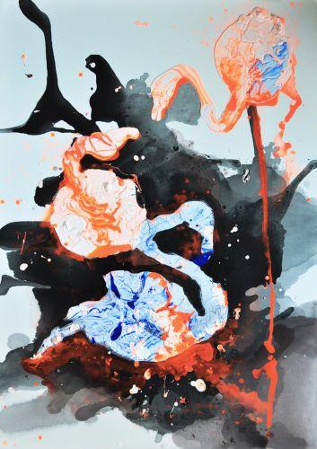 FLAMINGOS  Own technique  140 x 100 cm  2016