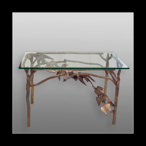 A TABLE WITH BIRDS  bronze and glass  height 81 cm  2007