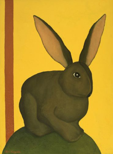 RABBIT BY A YELLOW LIQUID  Oil, enamel on canvas  58 x 43 cm  2011