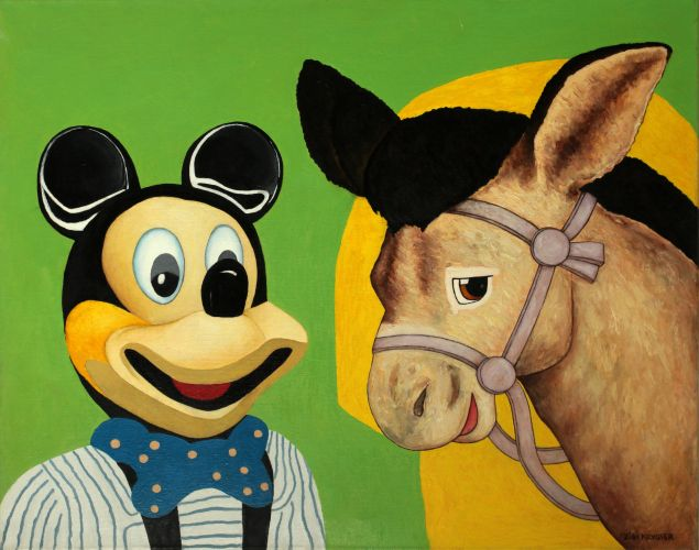 MICKEY MOUSE AND DONKEY II  Oil on canvas  65 x 81 cm  2011