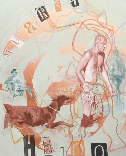 MAN WITH DOG  Oil and acrylic on canvas  150 x 120 cm  2011