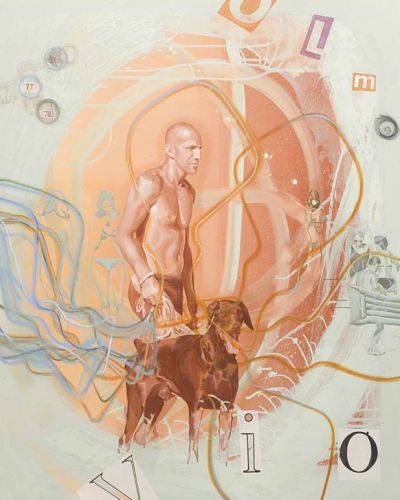 MAN WITH DOG 3  Oil and acrylic on canvas  150 x 120 cm  2011
