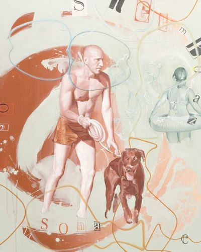 MAN WITH DOG 2  Oil and acrylic on canvas  150 x 120 cm  2011