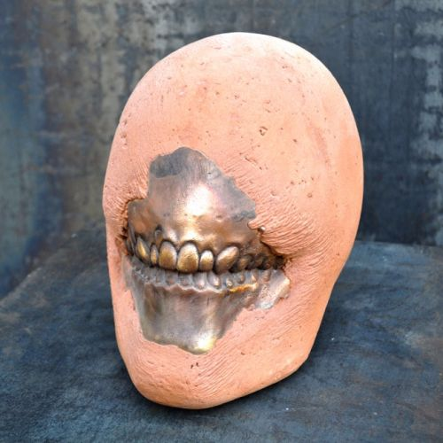 ORANGE HEAD MAS  Artificial stone/bronze, steel base   height 126 cm  2015