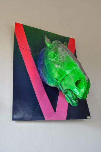 HORSE HEAD VICTORY  Painted aluminium   120 x 90 x 90 cm  2015