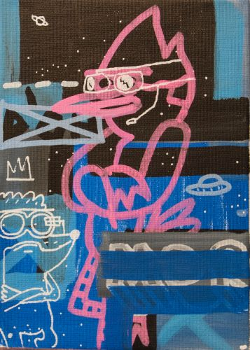 MORDECAI & RIGBY​  Acrylic on canvas  13 x 18 cm  2015