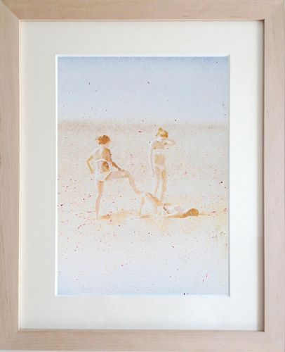 THREE WOMEN. THE BEACH  Own technique on paper  34,5 x 24,5 cm  2014