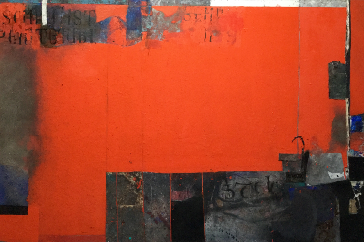 RED SHROUD  Mixed media on canvas   240 x 169 cm​  2015