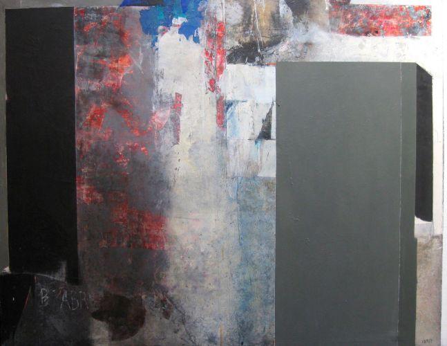 GRAY WALL  Mixed media on canvas   204 x 160 cm  2014