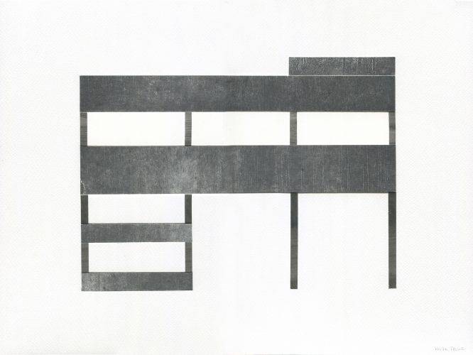 ARCHI I  Collage, Fabriano Texture Paper 200 g/m2, black aluminium frame  40 x 30 cm  2016