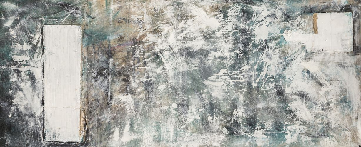 WHITE (FROM DIPTYCH)​  Collage on canvas  90 x 200 cm  2016