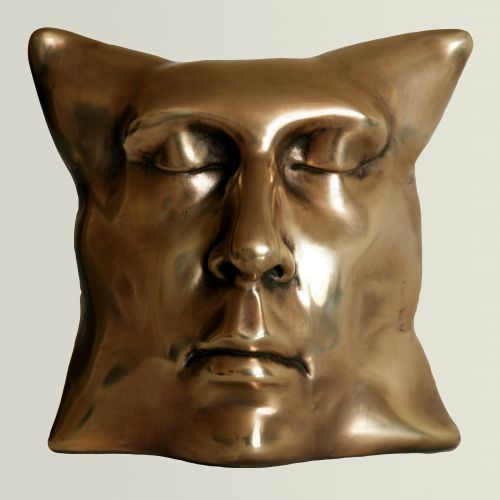 Gold He Pillow  Galvanized acrystal  20 x 19 x 12 cm  2012